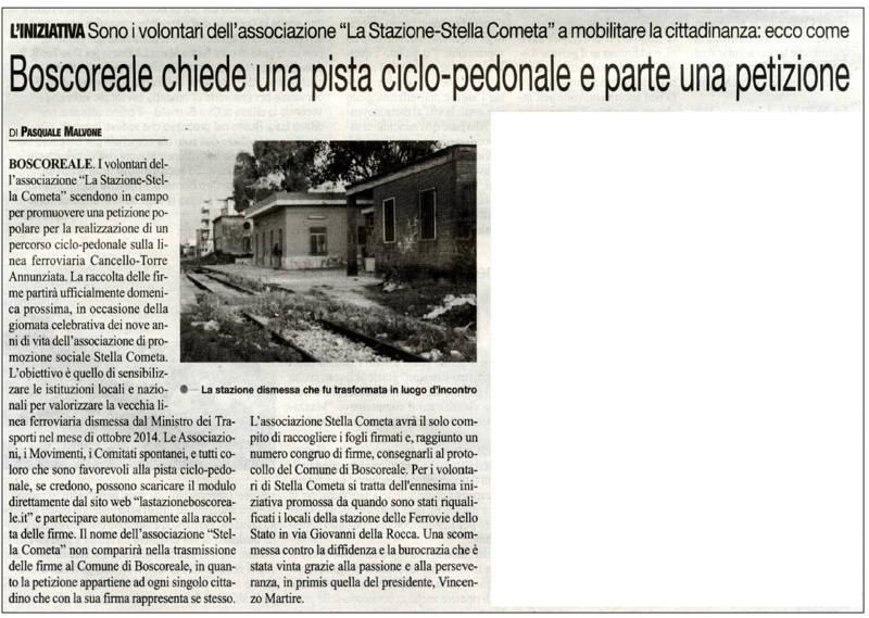 PISTA CILCLABILE CRONACHE